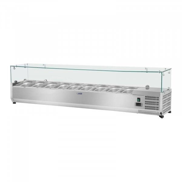 Kylränna - 200 x 39 cm - 9 GN 1/3 behållare - glasöverbyggnad