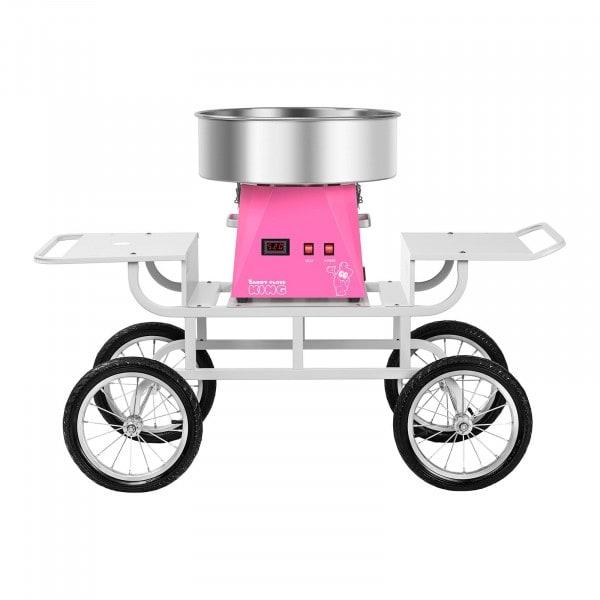 Sockervaddsmaskin - set - med vagn - 52 cm - rosa/vit