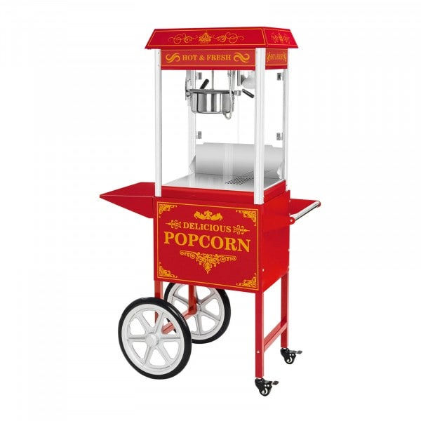 Popcornmaskin med vagn - Retrodesign - Röd