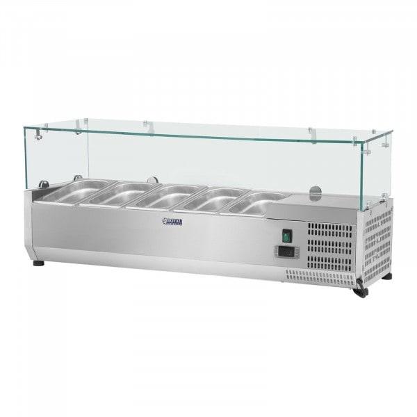Kylränna - 120 x 33 cm - 5 GN 1/4 behållare - glasöverbyggnad