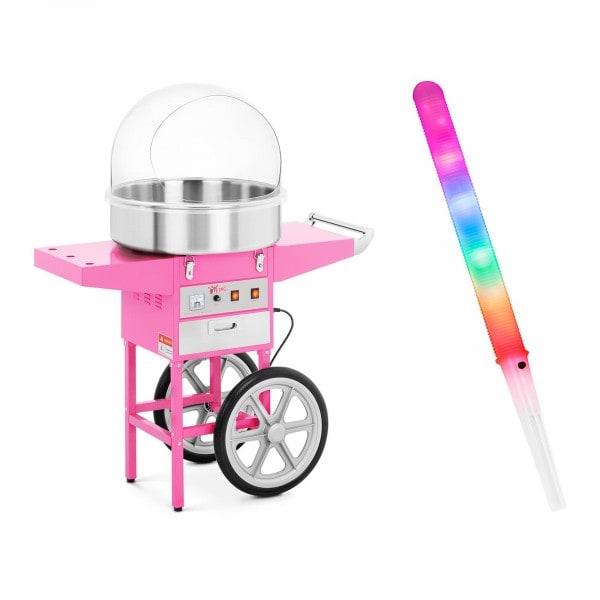 Sockervaddsmaskin - Set - inkl. 100 LED-sockervaddspinnar - 52 cm - 1.200 W - Vagn - Skyddskåpa