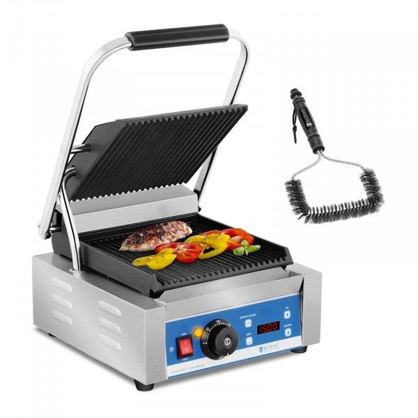 Set kontaktgrill med grillborste - 1800 W - Räfflad - Timer