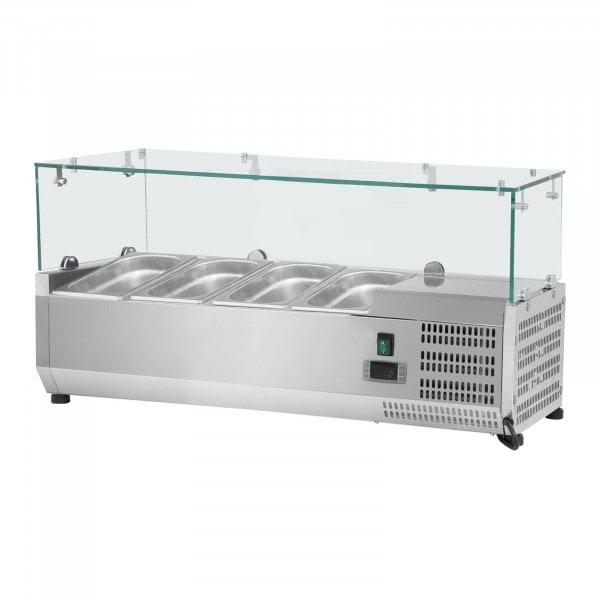 Kylränna - 120 x 39 cm - 4 GN 1/3 behållare - glasöverbyggnad