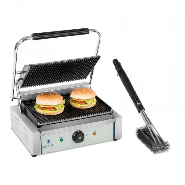 Set kontaktgrill med grillborste - 2200 W - räfflad