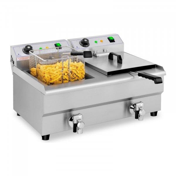 Elektrisk fritös - 2 x 13 liter - Tappkranar - 230 V