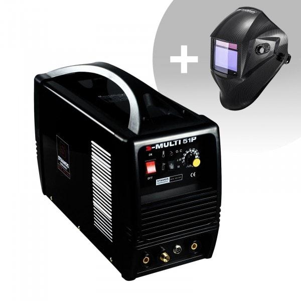 Kombisvets - TIG 180 A - Cut 50 A - MMA - PRO + Svetshjälm – Carbonic – Professional Series
