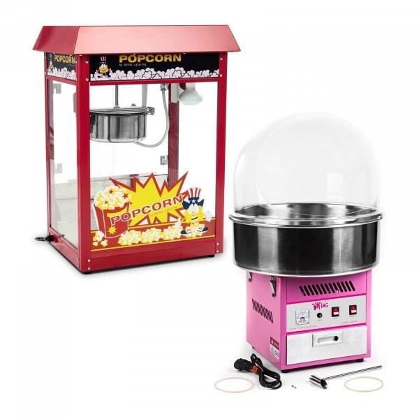 Sockervaddsmaskin - 52 cm - inkl. spottskydd + Popcornmaskin - röd - set