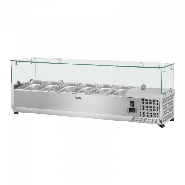 Kylränna - 140 x 33 cm - 6 GN 1/4 behållare - glasöverbyggnad