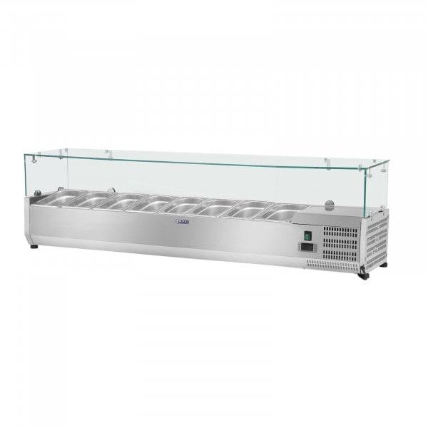 Kylränna - 180 x 39 cm - 8 GN 1/3 behållare - glasöverbyggnad