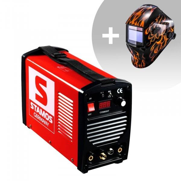 TIG-svets - 200 A - 230 V - bärbar + Svetshjälm – Firestarter 500 – Advanced Series