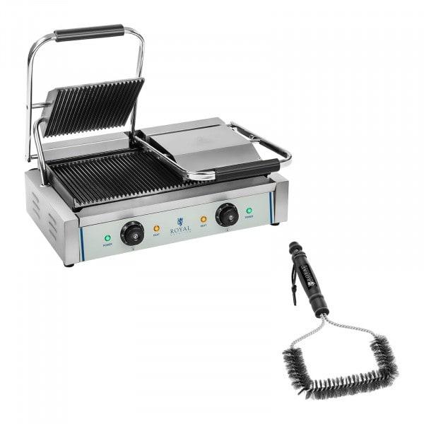 Set dubbel kontaktgrill och grillborste - 2 x 1800 W - Räfflad