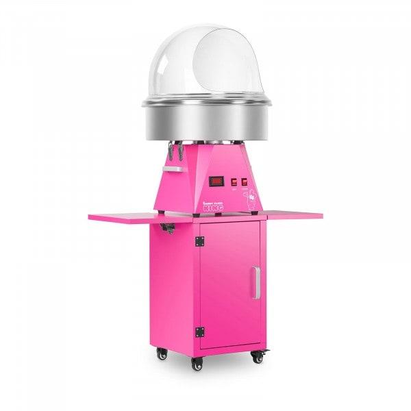 Sockervaddsmaskin set med vagn och spottskydd - 52 cm - rosa/rosa