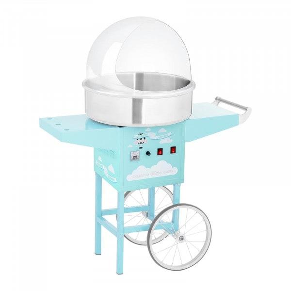 Sockervaddsmaskin - set med vagn och spottskydd - 52 cm - 1200 W - turkos