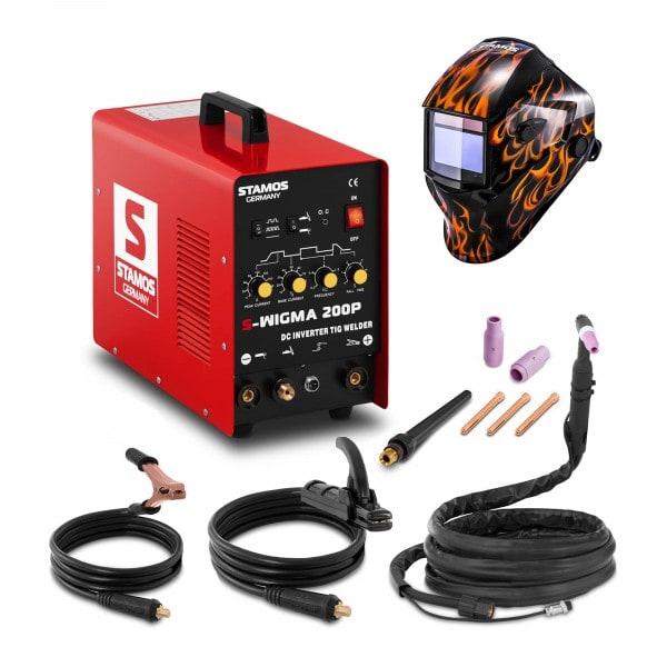 TIG-svets - 200 A - 230 V - puls + Svetshjälm – Firestarter 500 – Advanced Series
