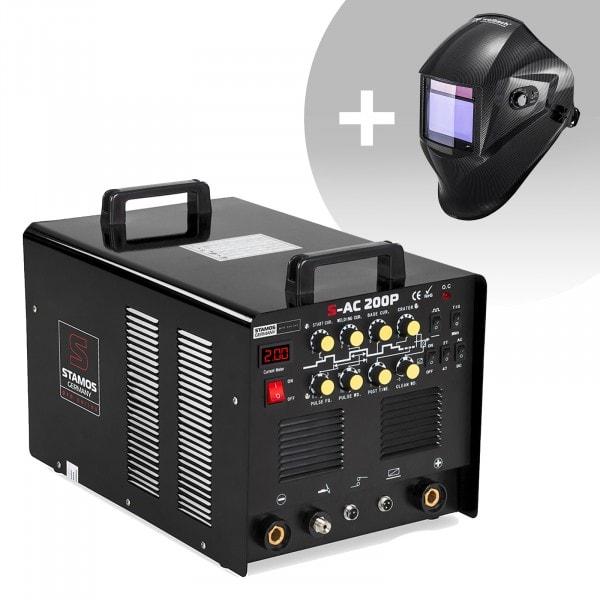 Aluminiumsvets - 200 A - 230 V - puls - inkl. fotpedal + Svetshjälm – Carbonic – Professional Series