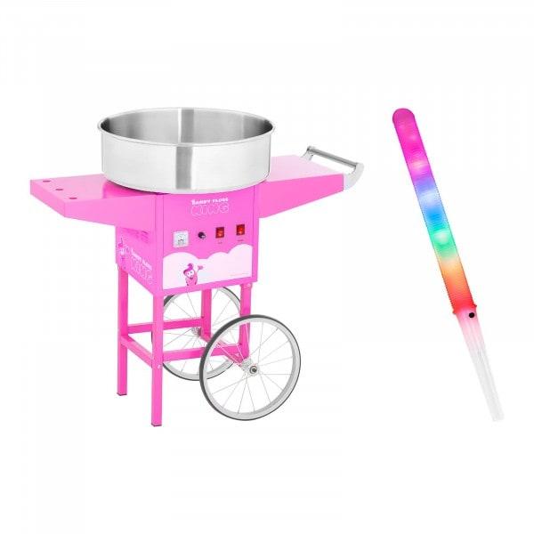 Sockervaddsmaskin - set - LED-sockervaddspinnar och vagn - 52 cm - 1.200 Watt - pink