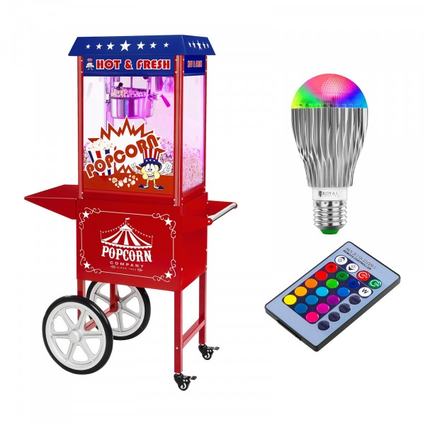 Popcornmaskin med vagn och LED-belysning - USA-design - röd