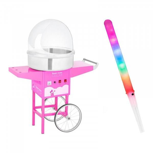 Sockervaddsmaskin - set med sockervaddspinnar - spottskydd - vagn - 52 cm - 1.200 W - rosa