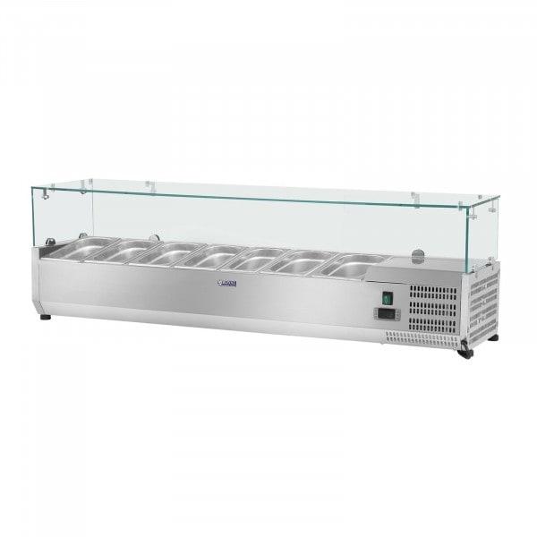 Kylränna - 160 x 39 cm - 7 GN 1/3 behållare - glasöverbyggnad