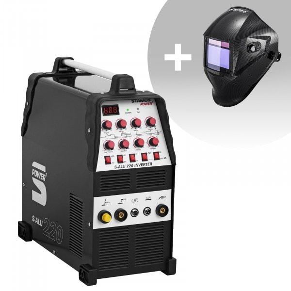 Aluminiumsvets - 200 A - 230 V - puls - 2/4-takt + Svetshjälm – Carbonic – Professional Series