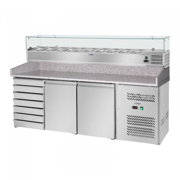 Pizzabänk med kylränna - 702 l - arbetsbänk av granit - 2 dörrar