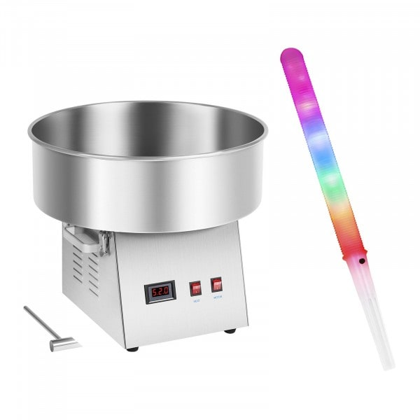 Sockervaddsmaskin - Set - inkl. 50 LED-sockervaddspinnar - 52 cm - 1.030 Watt - rostfritt stål