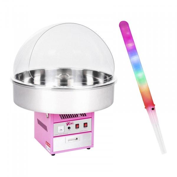 Sockervaddsmaskin - Set - inkl. 50 LED-sockervaddspinnar - 72 cm - 1.200 W - Skyddskåpa