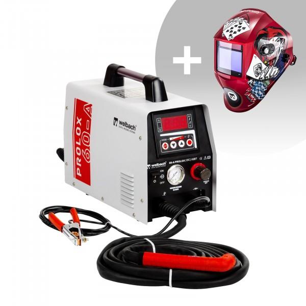 Plasmaskärare - 40 A - 230 V - digital - pilottändning + Svetshjälm – Pokerface – PROFESSIONAL SERIES