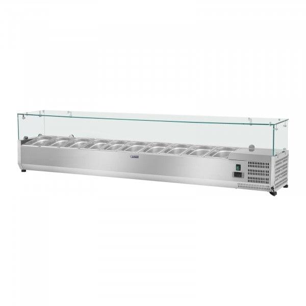 Kylränna - 200 x 33 cm - 10 GN 1/4 behållare - glasöverbyggnad