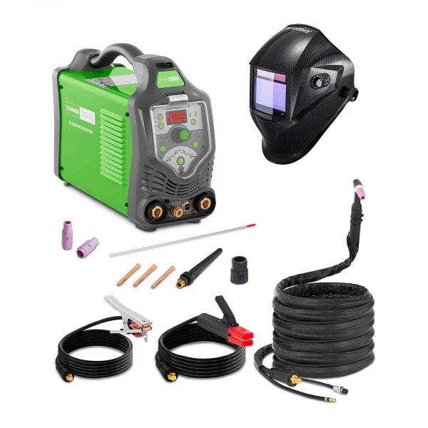 TIG-svets - 200 A - 230 V - puls - digital - 2/4-takt + Svetshjälm – Carbonic – Professional Series