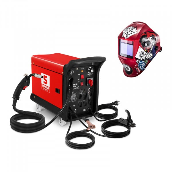 Kombisvets 195 A - 230 V - transportabel + Svetshjälm – Pokerface – PROFESSIONAL SERIES