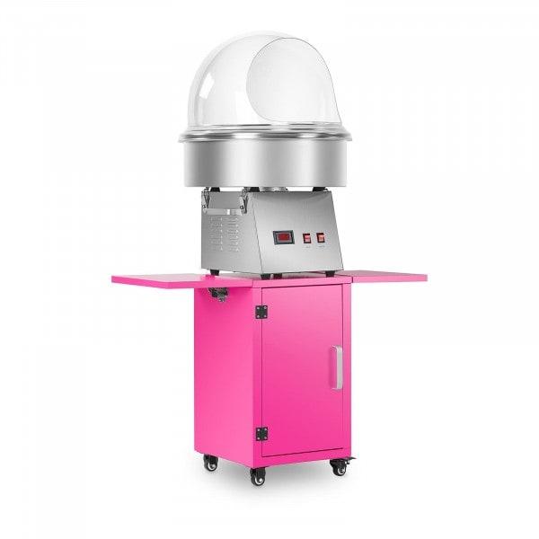 Sockervaddsmaskin set med vagn och spottskydd - 52 cm - rostfritt stål/rosa