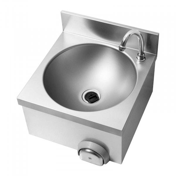 Knästyrt tvättställ - Inkl. beslag - Rostfritt stål/förkromad mässing - Kranlängd 140 mm