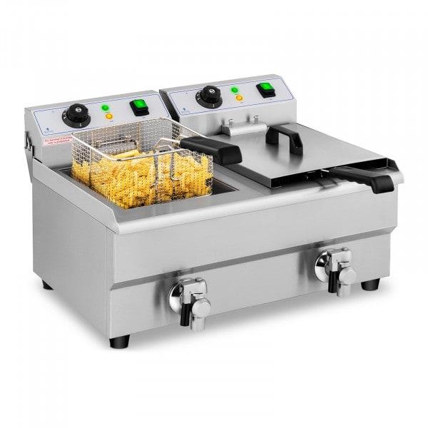 Elektrisk fritös - 2 x 10 liter - Avtappningskranar - 230 V