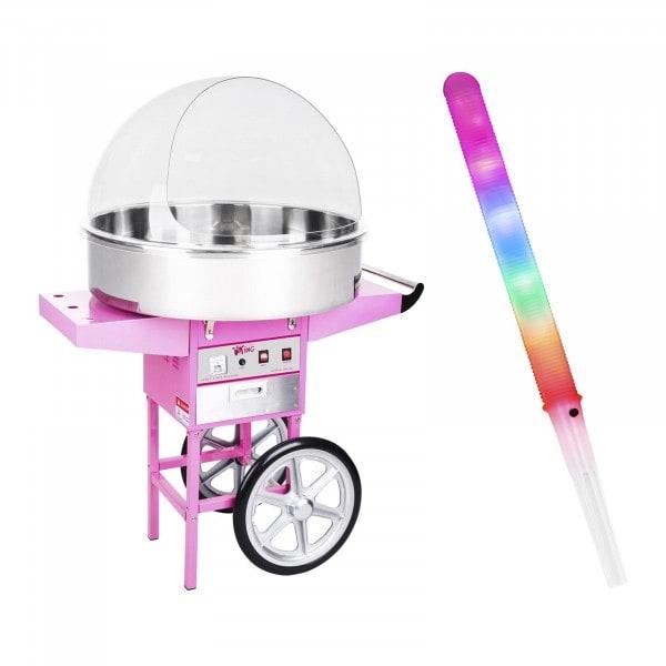Sockervaddsmaskin - Set - inkl. 100 LED-sockervaddspinnar - 72 cm - 1.200 W - Vagn - Skyddskåpa