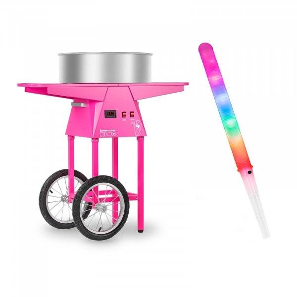 Sockervaddsmaskin - set - LED-sockervaddspinnar och vagn - 52 cm - 1.030 Watt