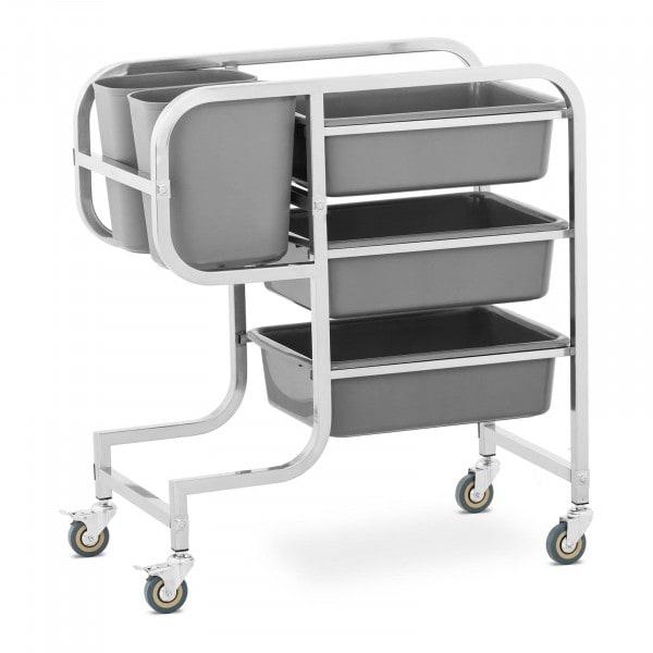 Köksvagn - 3 porslinskar - 2 avfallsbehållare - upp till 100 kg