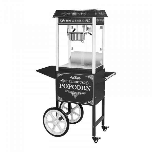 Popcornmaskin med vagn - Retrodesign - Svart