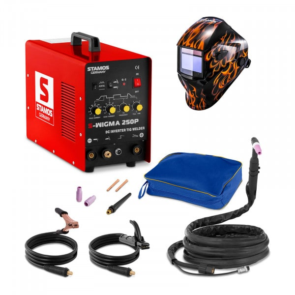TIG-svets - 250 A - 230 V - puls + Svetshjälm – Firestarter 500 – Advanced Series