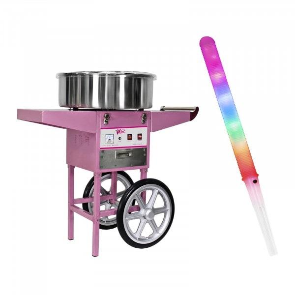 Sockervaddsmaskin - Set - inkl. 100 LED-sockervaddspinnar - 52 cm - 1.200 W - Vagn