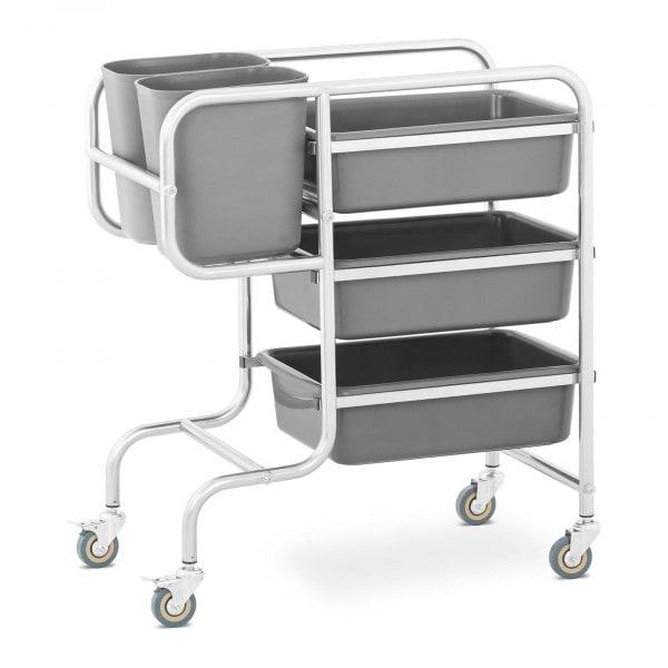 Köksvagn - 3 kar för porslin - 2 avfallsbehållare - upp till 84 kg
