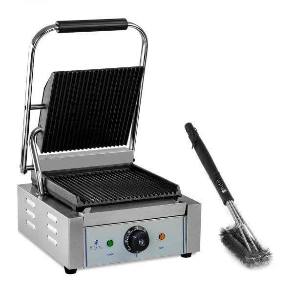 Set kontaktgrill med grillborste - räfflad - 1800 W