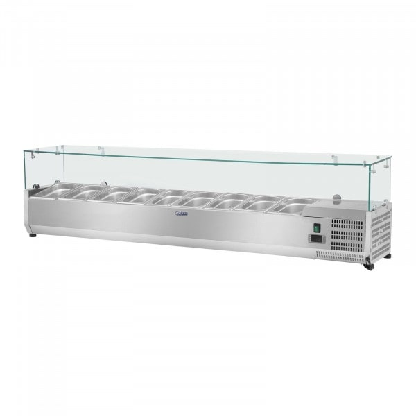 Kylränna - 180 x 33 cm - 9 GN 1/4 behållare - glasöverbyggnad