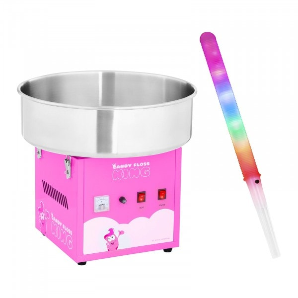 Sockervaddsmaskin - Set - inkl.50 LED-sockervaddspinnar - 52 cm - 1.200 W - pink