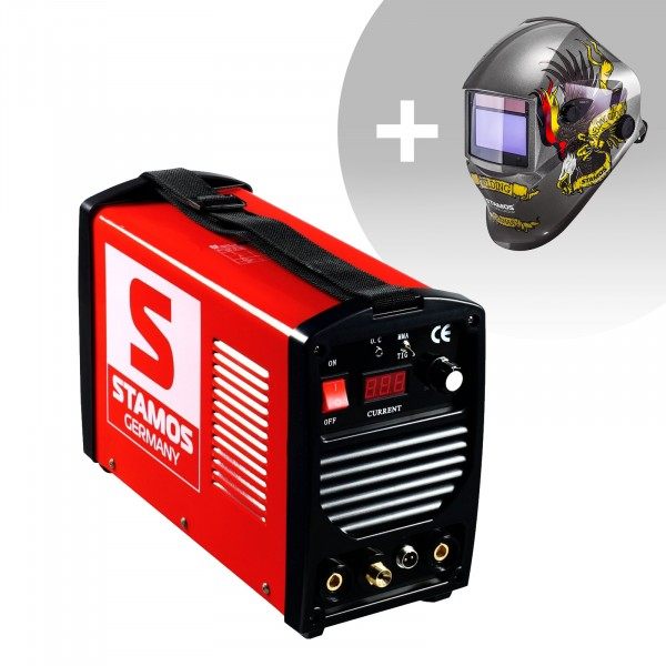 TIG-svets - 200 A - 230 V - bärbar + Svetshjälm – Eagle Eye – Advanced Series