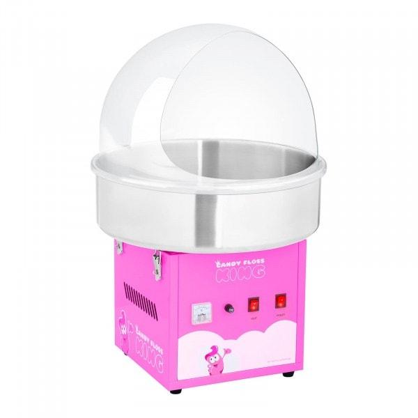 Sockervaddsmaskin - set med spottskydd - 52 cm - 1200 W - rosa