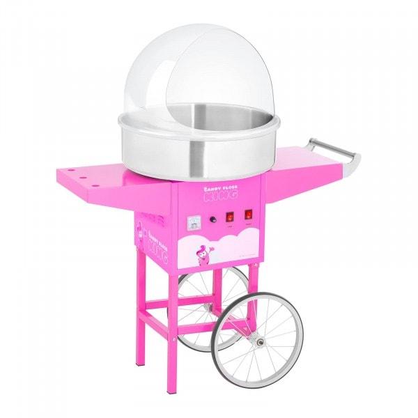 Sockervaddsmaskin - set med vagn och spottskydd - 52 cm - 1200 W - rosa